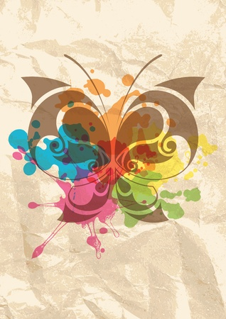 abstract grunge background with color blots and butterfly photo