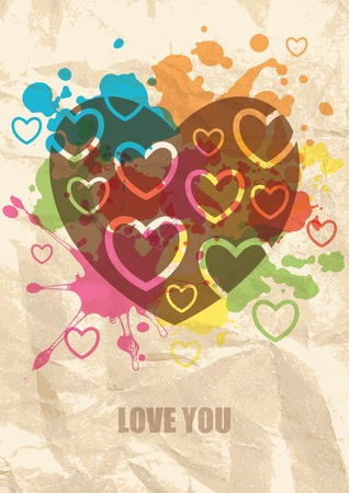 abstract grunge background with color blots and hearts Vector