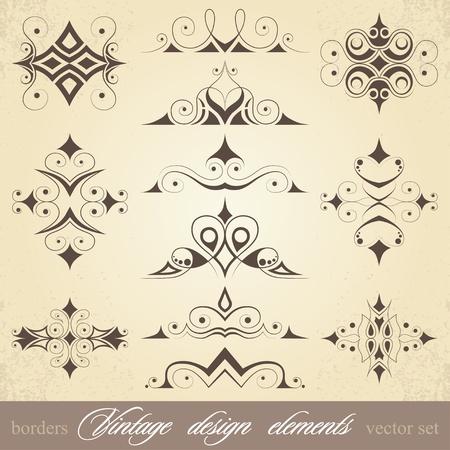 calligraphie arabe: �l�ments de conception vintage, les fronti�res et les boucles, ensemble de vecteurs