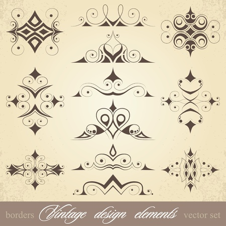 vintage design elements, borders and curls, vector set
