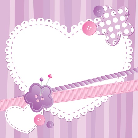 scrap booking: cute frame with heart and sewing buttons