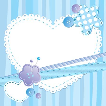 costurera: marco lindo con el coraz�n y coser botones Vectores