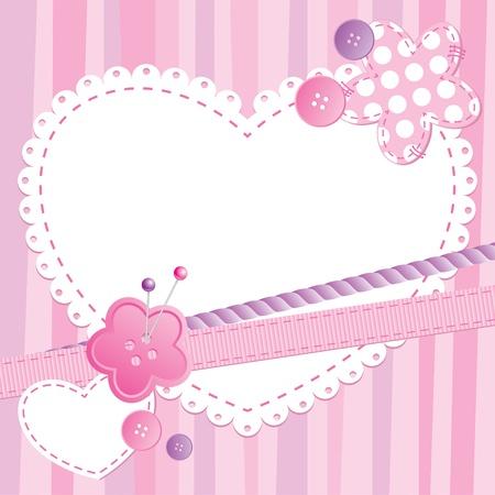 마음과 바느질 버튼과 귀여운 프레임