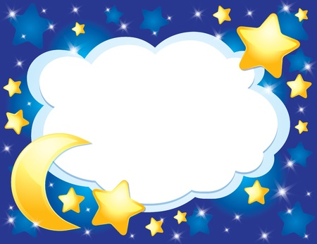 night background with a moon and stars Vector