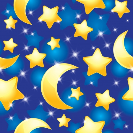 night sky and stars: seamless pattern with night sky, stars and moons