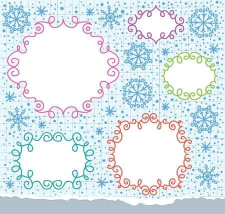 christmas frames and snowflakes Vector