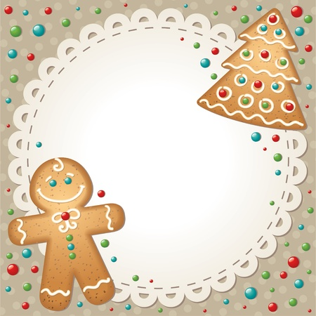 christmas cookie: christmas card with gingerbreads and white frame