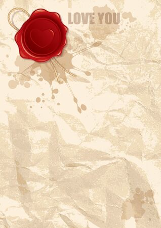abstract illustration of wax stamp with heart on old paper illustration