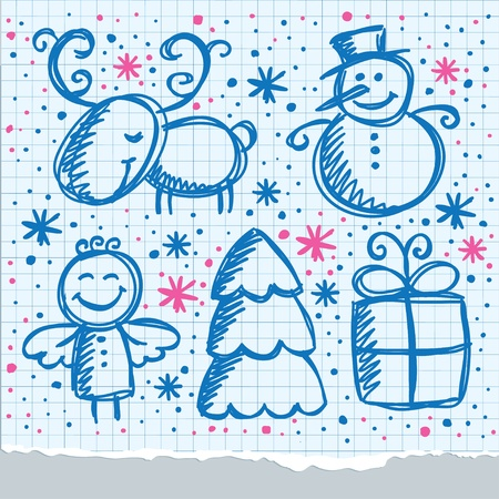 christmas hand drawn design elements on paper page Stock Vector - 11438640