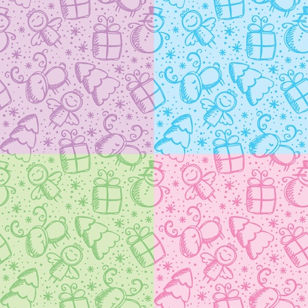 christmas hand drawn seamless patterns with cute characters Vector