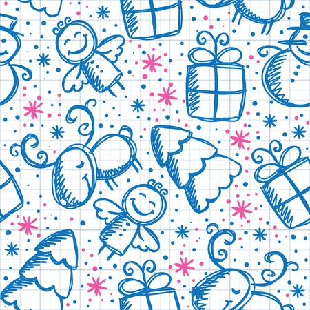 christmas hand drawn seamless pattern with cute characters Stock Vector - 11438636