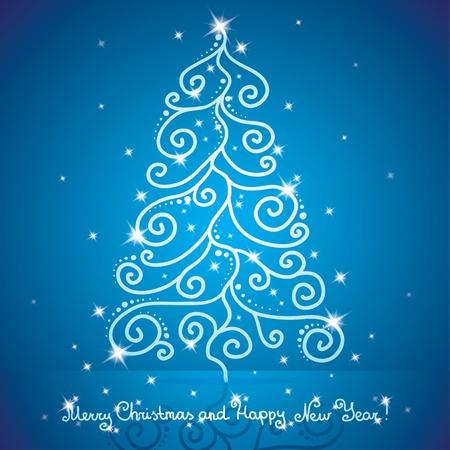 christmas tree and stars on blue background Stock Vector - 11438627