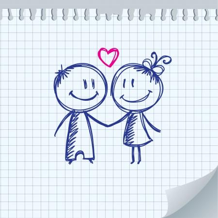 boyfriend: ilustraci�n d�a de San Valent�n con el ni�o y la ni�a Vectores