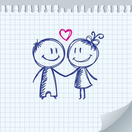funny love: valentines day illustration with boy and girl