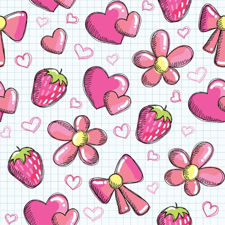 cute seamless pattern with romantic elements Vector