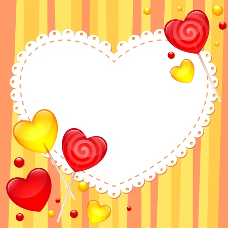 valentines day greeting card with lollipops Vector