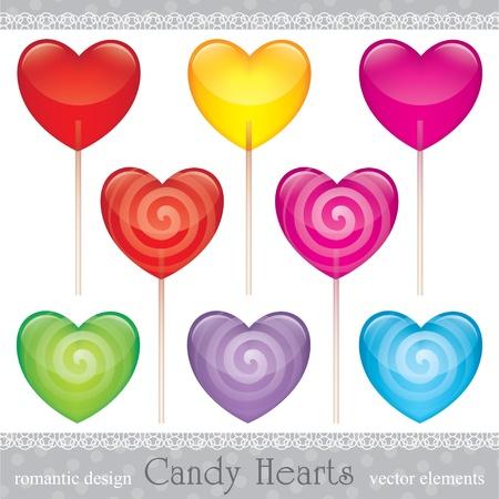 candy stick: lollipops set, valentines day illustration