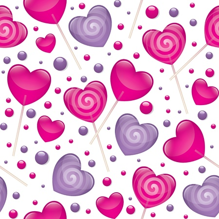 candy stick: lollipops seamless pattern, valentines day illustration