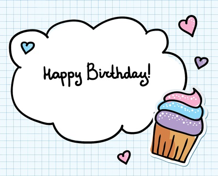 birthday greeting card with cute cupcake and hearts Vector