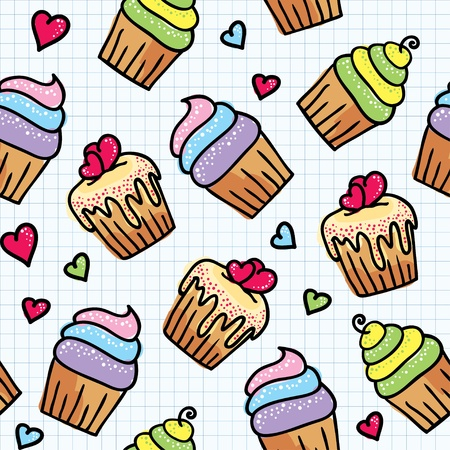 simple meal: seamless pattern with cute cupcakes, hand drawn illustration