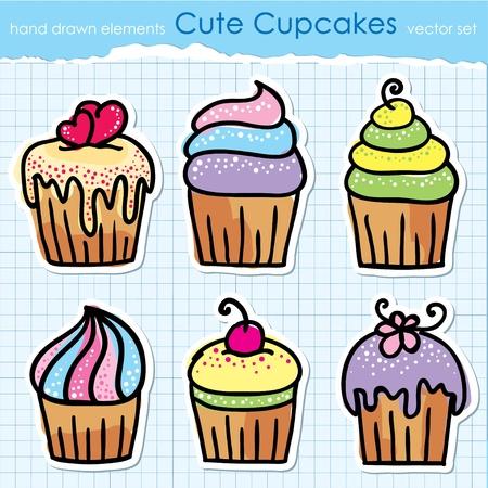 fruit cake: cute hand drawn cupcakes set design elements Illustration