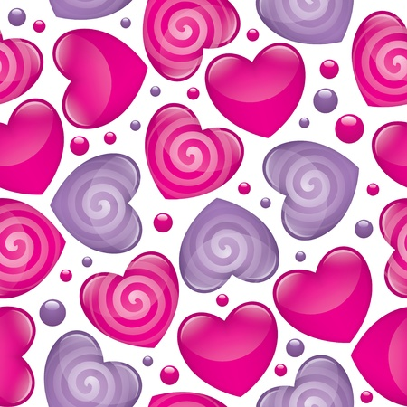 seamless pattern with pink and violet glossy hearts Vector