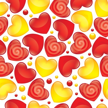 seamless pattern with red and yellow glossy hearts