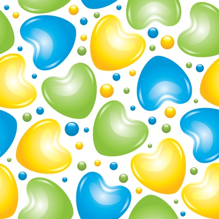 seamless pattern with blue, green and yellow glossy hearts Vector