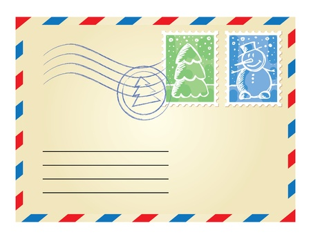 christmas envelope with postage stamps on white background Vector