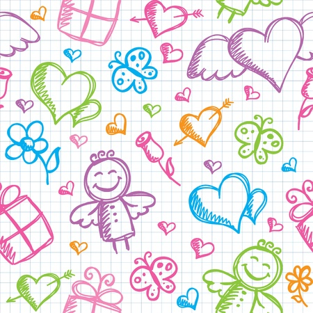 angel roses: romantic seamless pattern with hand drawn elements