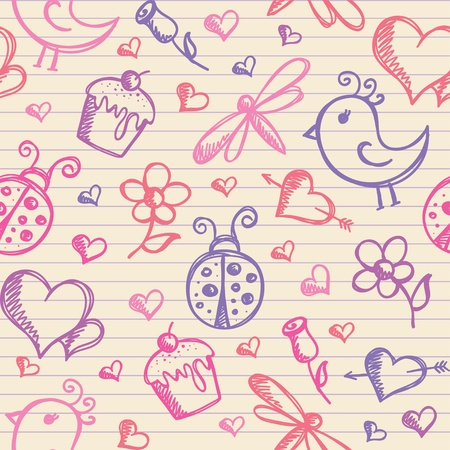 butterfly ladybird: romantic seamless pattern with hand drawn elements