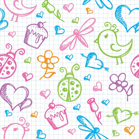 dragonfly wings: romantic seamless pattern with hand drawn elements