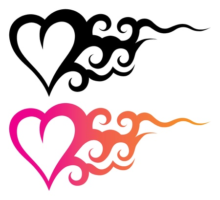 heart tattoo: tattoo template of a heart with abstract ornament Illustration