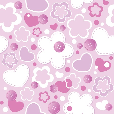 seamstress: cute seamless pattern with hearts, flowers and sewing buttons Illustration
