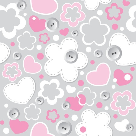 cute seamless pattern with hearts, flowers and sewing buttons Vector