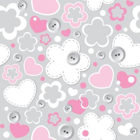 costurera: patr�n lindo transparente con corazones, flores y botones de costura Vectores