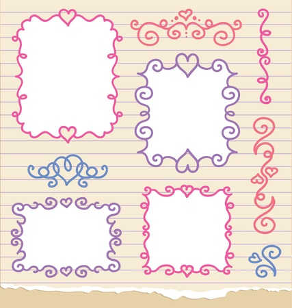 set of cute romantic hand drawn frames Vector
