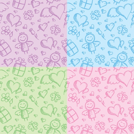 romantic seamless patterns with hand drawn elements Vector