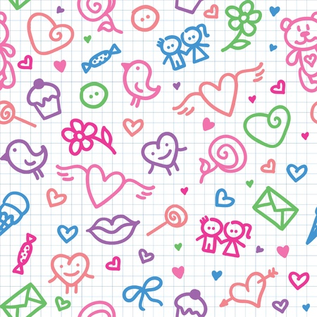 rosa: valentines day symbols pattern Illustration