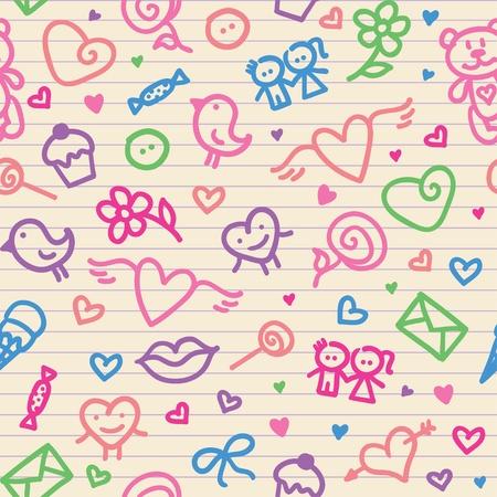 Día de San Valentín patrón de símbolos 2 (0). jpg Foto de archivo - 11846450