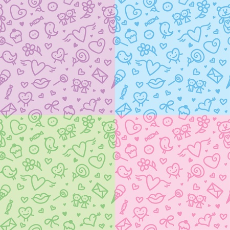 valentine's day symbols patterns Vector