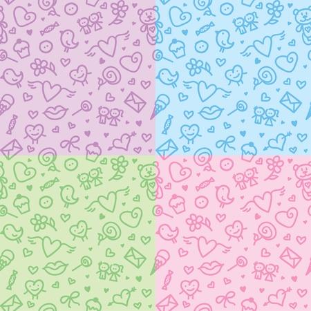 valentines day symbols patterns Vector