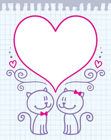 valentine's cats card Vector