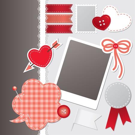 costurera: conjunto de elementos de scrapbooking rojo Vectores