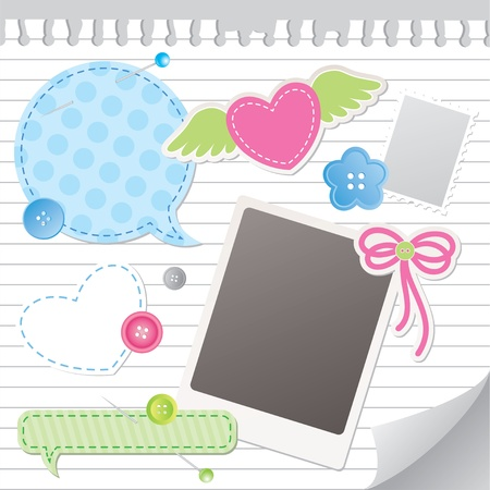 post teen: set of colorful scrapbooking elements Illustration