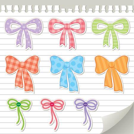set of bows, scrapbooking design elements