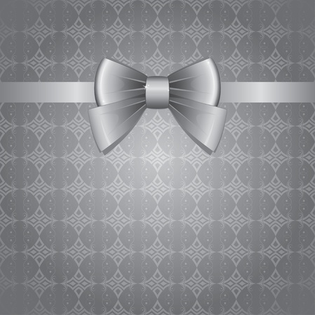 silver bow on gray vintage seamless background Vector