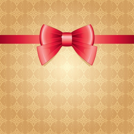 red bow on gold vintage seamless background Stock Vector - 11925980