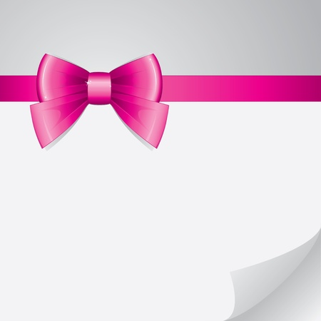 background with pink bow on realistic paper Vector