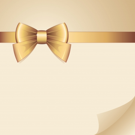 silk ribbon: background with gold bow on realistic paper